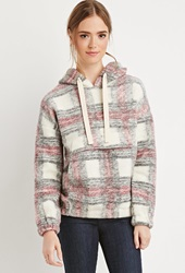 Forever 21 Plaid Drawstring Hoodie Cream Multi
