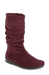 Bussola Women's 'Concord' Ruched Boot Wine Stretch Suede