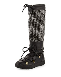 Moncler Isabelle Python And Tweed Knee Boot Black