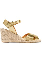 Paloma Barcelo Metallic Leather Espadrille Wedge Sandals