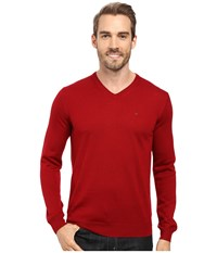 Calvin Klein Merino Moon And Tipped V Neck Sweater Mania Men's Sweater Red