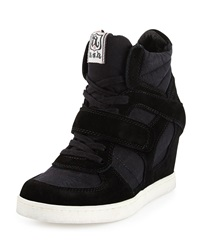 Ash Cool Canvas Suede Wedge Sneaker Black