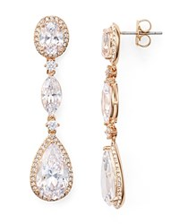 Nadri Oval Marquis And Pear Shaped Drop Earrings Rose Gold