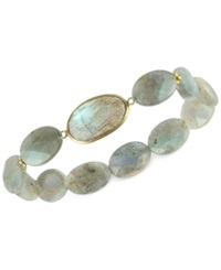 Macy's Labradorite Bezel Set Stretch Bracelet In Gold Plated Sterling Silver