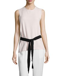 Joseph Sleeveless Belted Crepe Top Cameo