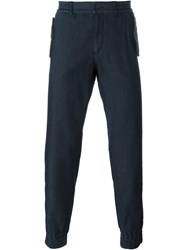 Armani Jeans Contrast Pocket Detail Cuffed Track Pants Blue