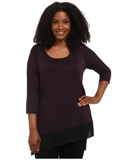 Karen Kane Plus Plus Size Three Quarter Sleeve Contrast Hem Tunic Eggplant Women's Long Sleeve Pullover Purple