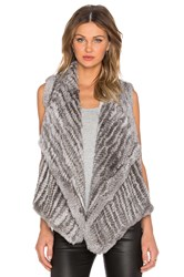 525 America Envelope Rabbit Fur Vest Gray