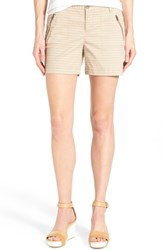 Women's Caslon 'Addison' Zip Pocket Shorts Tan Oxford Chevron Print