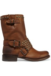 Frye Jenna Studded Leather Boots Brown