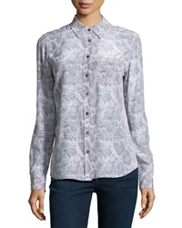 Equipment Brett Snake Print Blouse Gray