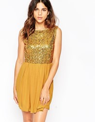 Pussycat London Skater Dress With Sequin Top Gold