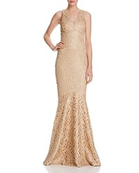 David Meister Lace V Neck Gown Gold