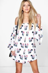 Boohoo Oriental Flower Bardot Detached Sleeve Dress White
