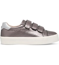 Carvela Lily Metallic Leather Trainers Pewter