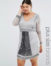 Lovedrobe Luxe Long Sleeve Plunge Front Heavily Embellished Shift Dress Silver
