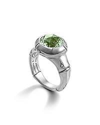 John Hardy Sterling Silver Bamboo Small Round Ring With Green Amethyst Silver Green