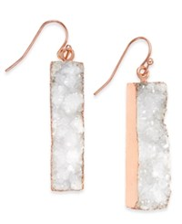 Inc International Concepts Gold Tone Druzy Crystal Bar Earrings Only At Macy's White
