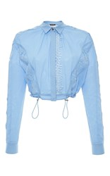 Versace Embroidered Long Sleeve Cropped Shirt Light Blue