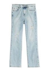 7 For All Mankind Seven For All Mankind Distressed Cropped Jeans Blue