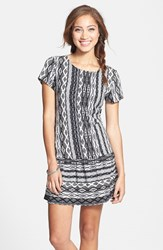 Junior Women's One Clothing Print Drop Waist Shift Dress