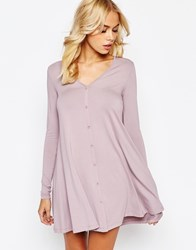 Asos Swing Dress With Long Sleeve And Button Front Dusty Lilac