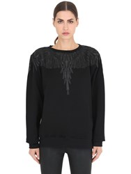 Marcelo Burlon Nancy Faux Leather Patch Sweatshirt