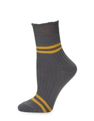 Free People Windsor Striped Ankle Socks Grey Combo