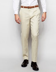 Asos Skinny Suit Trousers In Linen Mix Stone