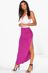 Boohoo Ruched Side Jersey Maxi Skirt Magenta