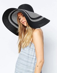 Asos Straw Oversized Floppy Hat In Mono Colour Block Stripe Mono Multi