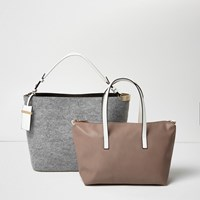 River Island Womens Grey Bucket And Slouch Tote Handbag Set