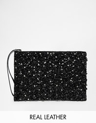 Warehouse Embellished Clutch Black