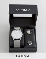 Sekonda Silver Mesh Watch And Cufflinks Gift Set Exclusive To Asos Silver