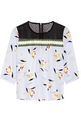 Suno Lace And Grosgrain Paneled Printed Silk Crepe De Chine Top