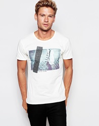 Selected Homme T Shirt With Guitar Print Offwhite