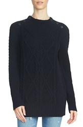 1.State Women's Button Shoulder Cotton Blend Sweater Rich Black