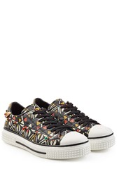 Valentino Stud Embellished Printed Leather Sneakers Multicolor