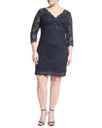 Marina Plus Sequined Lace 3 4 Sleeve Sheath Dress Blue
