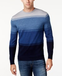 Club Room Men's Big And Tall Colorblocked Sweater Only At Macy's Navy Blue