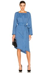 Loewe Square Collar Dress In Blue Stripes Blue Stripes