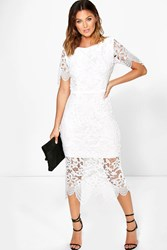Boohoo Emm Crochet Open Back Midi Dress Ivory