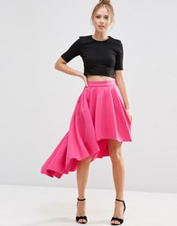 Asos Premium Scuba High Low Prom Skirt Hot Pink