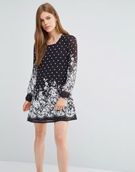 Yumi Shift Dress In Floral And Spotty Print Black