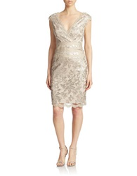 Cachet Sequined Champagne Sheath Dress