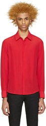 Cnc Costume National Red Crepe De Chine Shirt