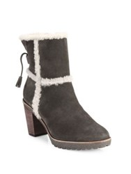 Frye Jen Shearling And Suede Block Heel Booties Smoke