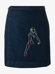 Jour Ne Embroidered Denim Wrap Skirt Blue Denim Multi Coloured Classic White Green