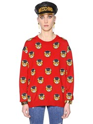 Moschino Bears Intarsia Merino Wool Knit Sweater