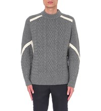 Sacai Aran Knit Wool Jumper Lt Gray